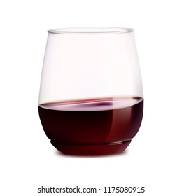 Realistic stemless glass with red wine. Vector illustration.