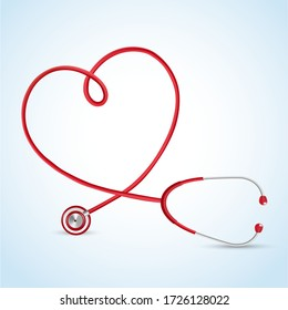 Realistic stethoscope and heartbeat heart shaped flat icons in medicine, medical, health, cross, healthcare for background concepts vector illustration.