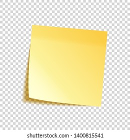 Realistic sticky note with shadow. Yellow paper. Message on notepaper. Reminder. Vector illustration.