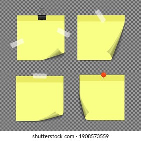 Realistic sticky notes isolated with real shadow on white background. Square sticky paper reminders with shadows, paper page mock up.