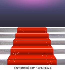 Realistic stone ladder with red carpet. Luxury style vector frame illustration. Staircase concept. Place for text.
