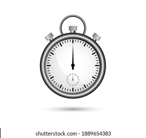 Realistic stopwatch in metallic color. Clock, time. Countdown.