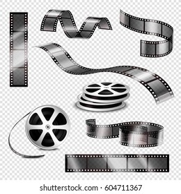 Realistic straight and twisted photographic strips and film reels 3d set on transparent background isolated vector illustration