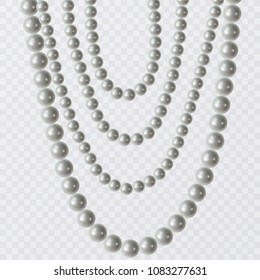 Realistic strands of white pearls, decorative element for holiday cards, wedding invitations, vector illustration