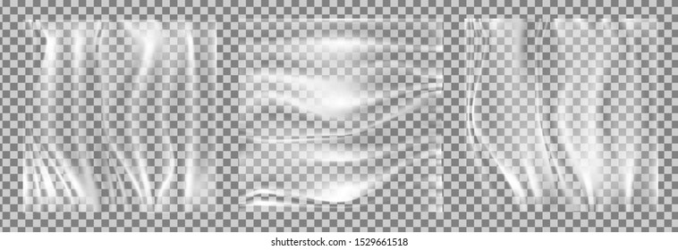 Realistic stretched transparent polyethylene vector background. cellophane wrap tape mockup.