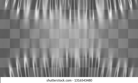 Realistic stretched white plastic warp. Polyethylene background. Vector transparent cellophane mockup.