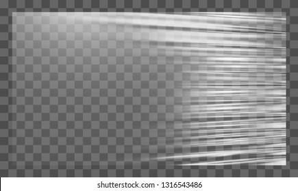 Realistic stretched white plastic warp. Polyethylene background. Vector transparent cellophane mockup.