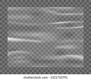 Realistic stretched white plastic warp. Polyethylene plastic texture. Transparent cellophane mockup – stock vector