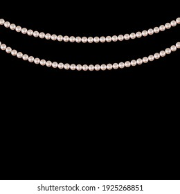 Realistic string of pearls on black background. Vector Illustration EPS10