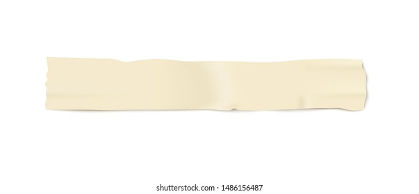 Realistic strip of adhesive masking tape mockup with 3D wrinkly texture, long thin horizontal line of sticky duct paper isolated on white background. Vector illustration.