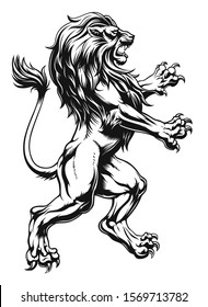 Realistic style heraldic lion black and white. Vector illustration.