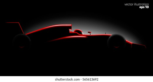 Realistic styled racing car side view in dark