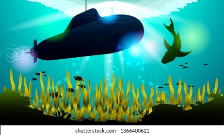 Realistic Submarine and shark under the water among the corals and algae, in the sunlight. Light effects at the bottom of the sea. Beautiful photorealistic vector illustration of the underwater world.