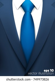 realistic suit with blue tie