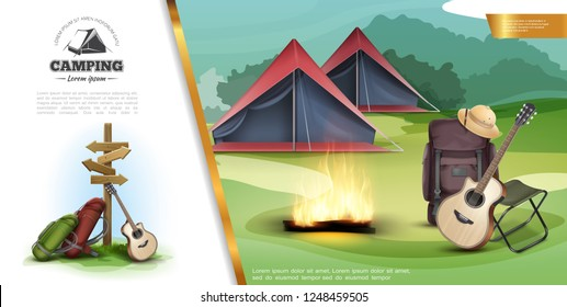Realistic Summer Camping Colorful Template