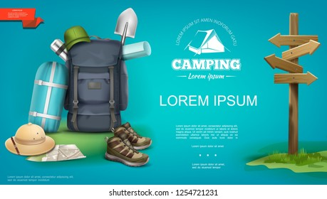 Realistic summer camping template with backpack sleeping bag panama hat sneakers map shovel thermos wooden signboard vector illustration