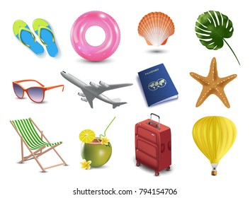 Realistic summer holidays seaside beach icons set isolated