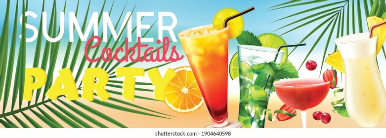 Realistic summer party horizontal poster with fresh cocktails on beach vector illustration
