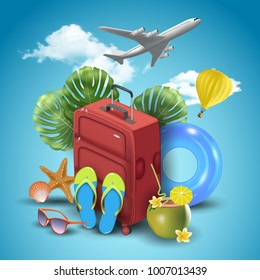Realistic Summer Vacation Design for Travel with Summer Items. Vector Illustration