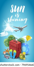 Realistic Summer Vacation Design for Travel with Summer Items. Travel quote. Badge. Vector Illustration