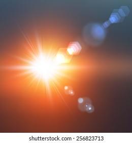 Realistic sun burst with flare. Vector illustration.