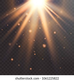 Realistic Sun flare. starburst vector, transparent white light