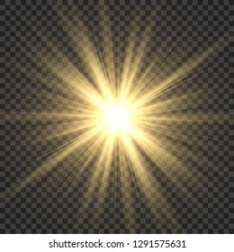 Realistic sun rays. Yellow sun ray glow abstract shine light effect starburst sbeam sunshine glowing isolated vector illustration