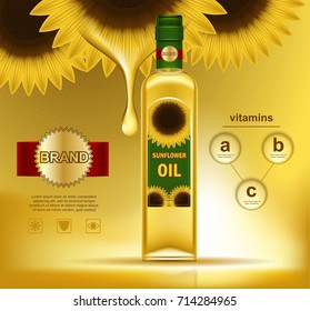 Realistic sunflower with oil drop on top of bottle with liquid. Plastic container with gold plant on sticker containing corn fat. Nutrition banner and agriculture badge, farming and food,natural theme