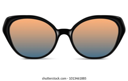 Realistic sunglasses with blue orange gradient lens and black plastic frame. Vector 3D illustration
