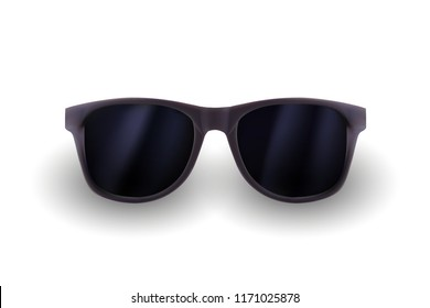 Realistic sunglasses isolated on white background. Vacations, summer travel design, travel agency. Vector realistic 3d illustration. Fashion accessory design. Summer eyewear concept