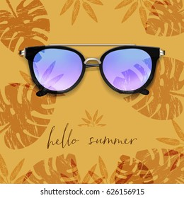 Realistic Sunglasses. Palm leaves background. Hello Summer card. Vector illustration