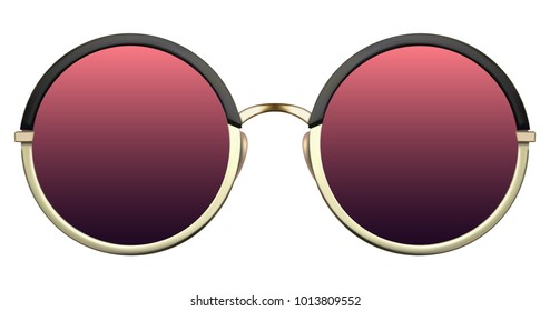 efb226b74045 Realistic sunglasses with red gradient lens and gold round metallic frame.  Vector 3D illustration