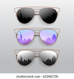 Realistic Sunglasses set. Vector isolated elements