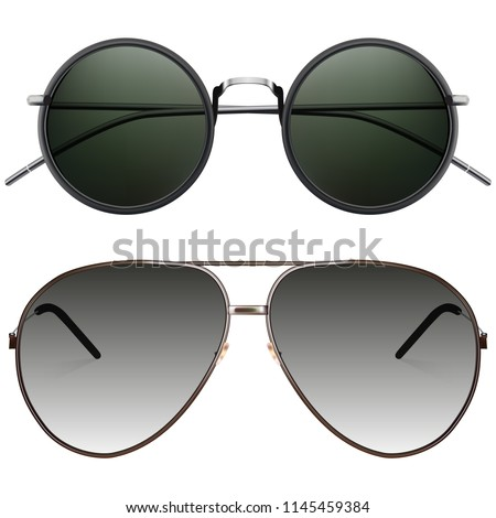 eab1eeb755446 Realistic Sunglasses Set Vector Isolated Elements Stock Vector ...