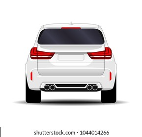realistic SUV car. back view.