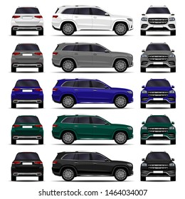 realistic SUV car. cars set. front view; side view; back view.