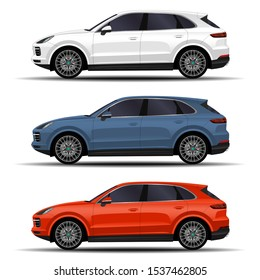 realistic SUV car. cars set. side view.