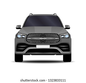 realistic SUV car. front view.