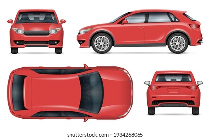 Realistic SUV vector mockup. Isolated template of red car on white background for vehicle branding, corporate identity. View from side, back, front and top. Easy editing and recolor