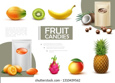 Realistic Sweet Fruit Candies Composition