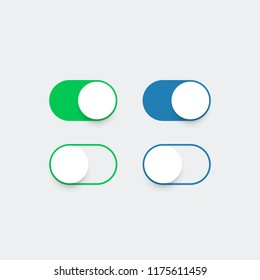 Realistic switch toggle buttons. Slider buttons for apps green and blue color, web, ui. Vector illustration. EPS 10
