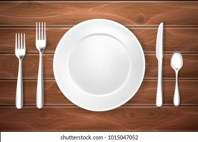 Realistic table setting, arrangement. 3d cutlery fork, knife spoons plate white mockup. Steel, ceramic porcelain kitchenware, flatware. Wooden texture background vector illustration, restaurant menu