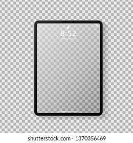 Realistic tablet computer mockup with transparent empty lock screen. Modern tablet PC template design isolated on grey transparent background. Vector Illustration