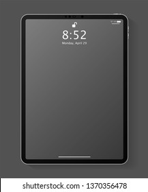 Realistic tablet computer mockup with transparent empty lock screen. Modern tablet PC template design isolated on dark grey background. Vector Illustration