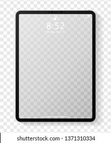 Realistic tablet computer mockup with transparent empty lock screen. Modern tablet PC template design isolated on transparent background. Vector Illustration