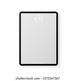 Realistic tablet computer mockup with transparent empty lock screen. Modern tablet PC template design isolated on white background. Vector Illustration