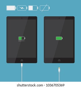 Realistic tablet icons collection with battery indicator and usb cable in flat style design, black flat device silhouette isolated on blue background,vector eps10