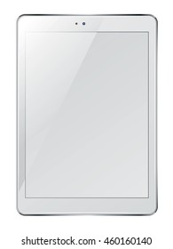 Realistic tablet pc computer with blank screen isolated on white background. Vector eps10 illustration.
