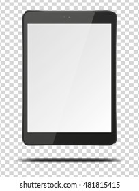 Realistic tablet pc computer with blank screen isolated on transparent background. Vector eps10 illustration.