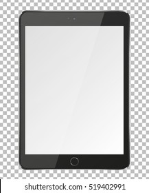 Realistic tablet pc computer with blank screen on transparent background. Vector eps10 illustration.